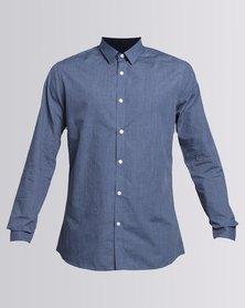 New Look Pin Dot Print Long Sleeve Shirt Blue
