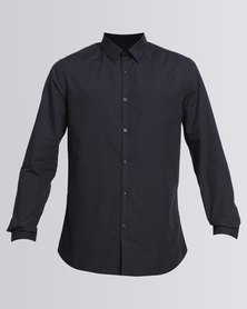 New Look Pin Dot Print Long Sleeve Shirt  Navy
