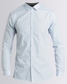 New Look Long Sleeve Poplin Shirt Pale Blue