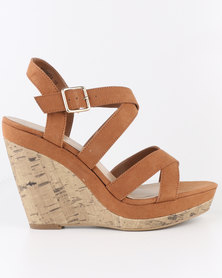 New Look Oysters 2 SDT Multi Strap Wedges Tan