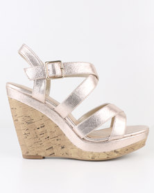 New Look Oysters 3  Shimmer Multi Strap Wedges Gold