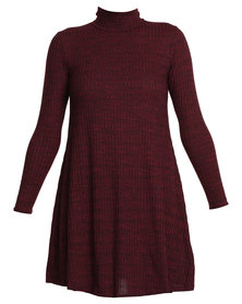 New Look Ribbed Funnel Neck Swing Dress Burgundy