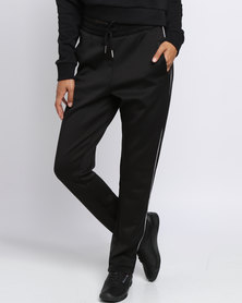 New Look Contrast Trim Straight Leg Joggers Black