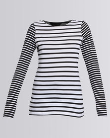 New Look Contrast Stripe Print Crew Neck T-Shirt Multi