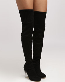 New Look Dombre SDT Ombre Heel Over The Knee Boots Black