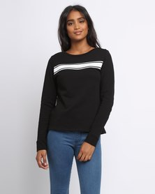 New Look Molly Mono Tape Chest Sweater Black