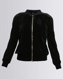 New Look Velvet Bomber Black