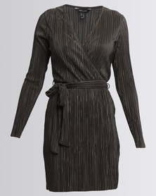 New Look Pleated Wrap Front Long Sleeve Dress Khaki
