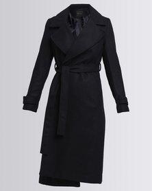 New Look Wide Collar Wrap Front Longline Coat Navy