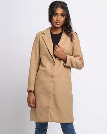 New Look Longline Coat Camel