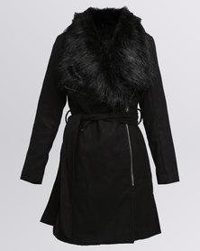 New Look Faux Fur Trim Belted Biker Jacket Black