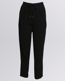 New Look Satin Panel Joggers Black