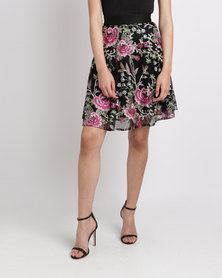 New Look Floral Embroidered Mesh Skater Skirt Black