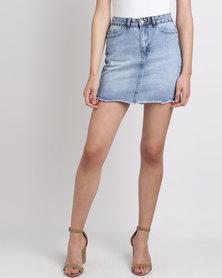 New Look Fray Hem Denim Skirt Blue