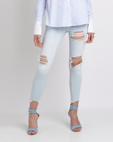 New Look Ripped Skinny Jenna Jeans Blue