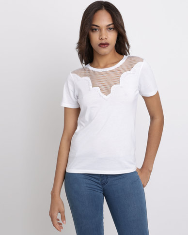 New Look  Lace Panel T-Shirt White