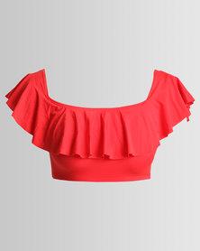 New Look Bardot Neck Frill Trim Bikini Top Red