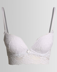 New Look Daisy Lace Longline Bra White