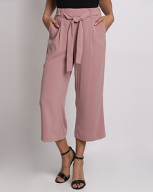 New Look Mid Tie Waist Culottes Pink