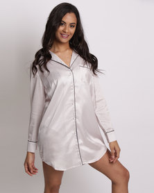 New Look Stripe Sateen Oversized Pyjama Shirt Pink