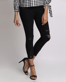 New Look Ripped Fray Hem Jenna Jeans Black