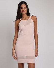New Look Mesh Panel Bodycon Mini Dress Pink