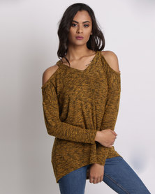 New Look Cold Shoulder Long Sleeve Top Light Khaki