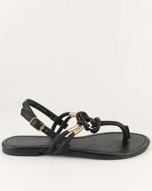 New Look Heated Toe Post Sandal Black