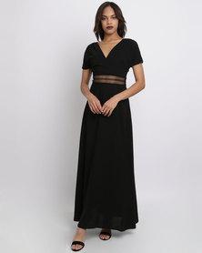 New Look Crochet Waist Maxi Dress Black