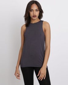 New Look Cut Out Back Sleeveless Top Dark Grey