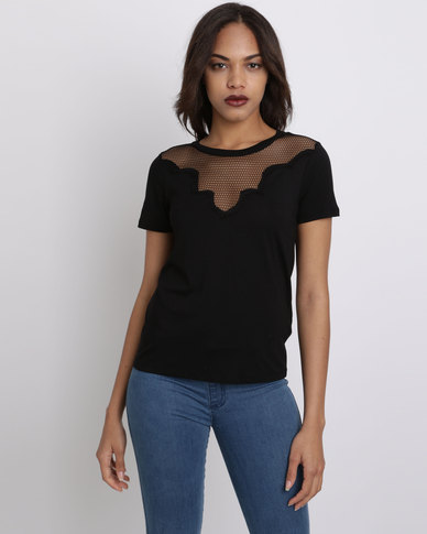 New Look Lace Panel T-Shirt Black