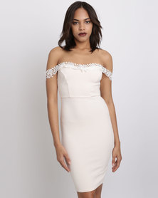 New Look Lace Trim Bardot Neck Bodycon Dress Nude