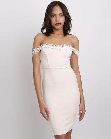 New Look Lace Trim Bardot Neck Bodycon Dress Nude