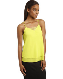 New Look Lace Trim Double Strap Layered Cami Lime Green
