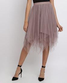 New Look Tulle Hanky Hem Midi Skirt Mink