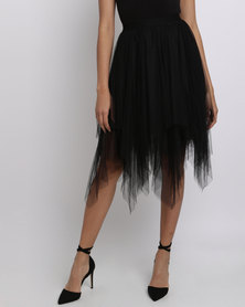 New Look Tulle Hanky Hem Midi Skirt Black