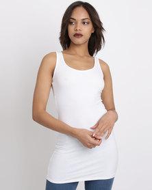 New Look Long Line Vest White