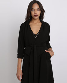 New Look  Waterfall Belted Duster Coat Black