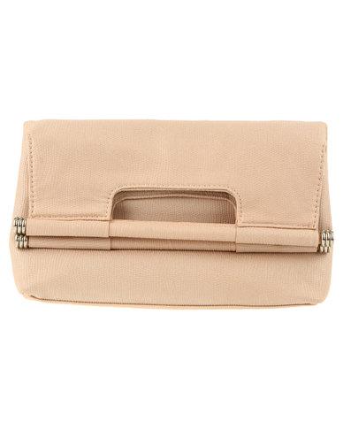New Look Bar Fold Over Clutch Bag Oatmeal
