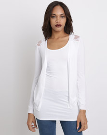 New Look  Lace Back Cardigan White