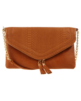 New Look Babar Tassel Zip Cross Body Bag Tan