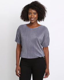 New Look Pleated Top Grey