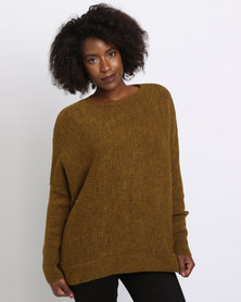 New Look Ribbed Long Sleeve Jumper Olive Green