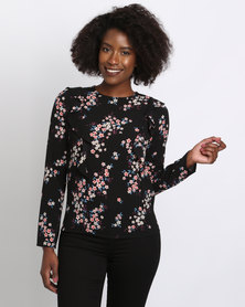 New Look Print Cleo Long Sleeve Frill Blouse Black