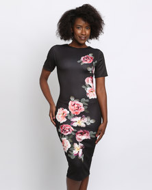 New Look Floral Print Short Sleeve Bodycon Dress Black