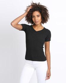 New Look Wrap Front Short Sleeve Bardot Black