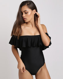 New Look Frill Trim Bardot Neck Swimsuit Black