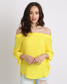 New Look Tie Sleeve Bardot Neck Top Yellow