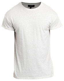 New Look Roll Sleeve T-Shirt Light Grey