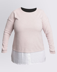 New Look Curves 2 In 1 Brushed Jumper And Chiffon Top Pink